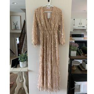 Long Sleeve Maxi Sequin Dress